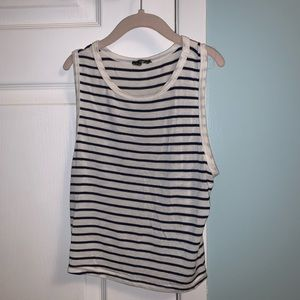 Tops - Blue and White Striped Tank Top